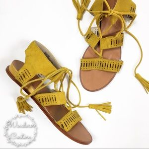 Caslon Gilda Yellow Gladiator Ankle Wrap Sandals